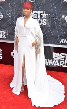 Monica from 2015 BET Awards: Red Carpet Arrivals  This look in a word? Angelic.