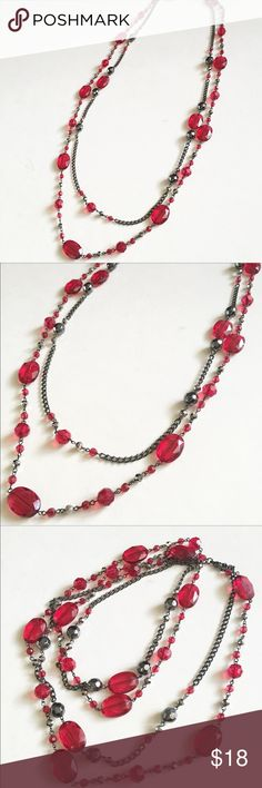 Red beaded Long necklace Red and black beaded Long necklace. Double layer. Lobster claw closure Jewelry Necklaces