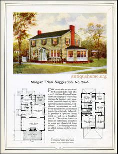 1923 Classic Colonial Revival - Morgan - Traditional House Plan - No. Colonial House Plans, Traditional House Plans, House Floor Plans, The Plan, How To Plan, England Houses, New England Homes, Plans Architecture, Vintage Architecture
