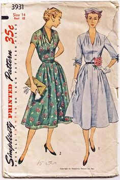 """Simplicity 3931. 1952 Dress. Bust 32"""". Traced copy. Complete."""