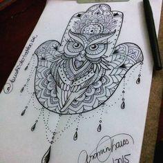 Resultado de imagem para mão de fátima coruja tattoo tatuagem