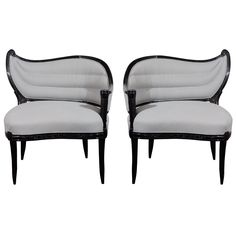 Magnificent Pair Of Dorothy Draper Regency Chairs By Henredon. These Chairs  Have Exquisite Detail And Design. The Frames Are A Classic Black Lacqueu2026