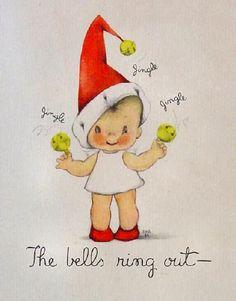 Little Christmas Angel ~ Vintage Christmas Card. Artist: Eva Harta (1914-1997)