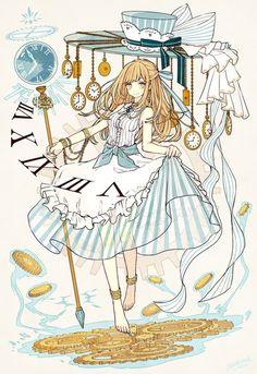 Alice in the wonderland (anime style) Anime Chibi, Kawaii Anime, Manga Anime, Manga Art, Disney Kunst, Arte Disney, Disney Art, Anime Style, Alice Anime