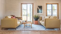 not so mellow yellow | seaside summer house vibes | burlap walls and rough wooden floors | larger french windows leading out onto the patio | yellow sofas | IKEA Nockeby sofas with Bemz covers in Straw yellow Tegner Melange