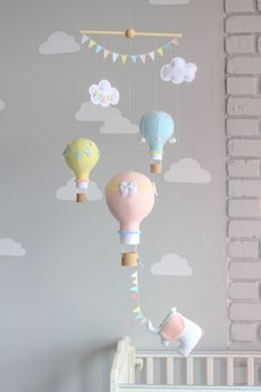 Baby mobile, Hot Air Balloon, Travel Theme, Nursery Decor, Elephant Mobile, Yellow, Blue, Pink, Grey i76