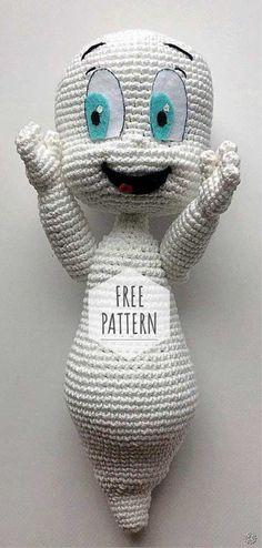Amigurumi Casper Free Pattern - Crochet Clothing and Accessories Crochet Gratis, Crochet Amigurumi Free Patterns, Crochet Motifs, Cute Crochet, Crochet For Kids, Crochet Dolls, Crochet Yarn, Knitting Patterns, Crocheted Toys