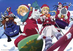 Merry Christmas, Edward, Winry, Alphonse, Roy, Ling, Riza, funny, sledding, snow, winter, Santa Claus, outfits, snowmobile, sleds, panda; Fullmetal Alchemist