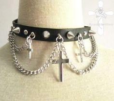 Triple Cross Gothic Lolita Studs Punk Rock Killer Visual Kei Faux Leather Choker #Chokers