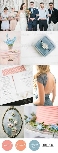 Soft and Romantic Coral, Peach, and Dusty Blue Wedding Inspiration | Shine Wedding Invitations - Lace Dress, Ring Box, Coral Cake