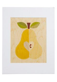 Amour-acelga impressão em Pear - Amarelo, Tan, verde, marrom, frutas, dormitório Decor