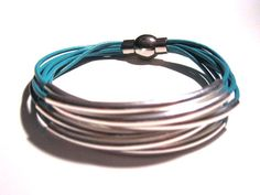 Turquoise Leather Cuff Bracelet with Silver or by wrapsbyrenzel, $15.99