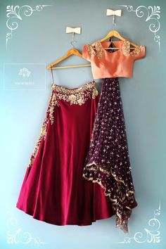 Maroon lehengha with a peach cold shoulder blouse and a sparkly purple dupatta. indian wedding collection sister of the bride outfit maroon lehengha colds houlder blouse light lehengha wedding season 12 February 2017 Indian Lehenga, Red Lehenga, Lehenga Choli, Lehenga Skirt, Lehnga Dress, Sabyasachi, Pakistani Dresses, Indian Dresses, Indian Outfits