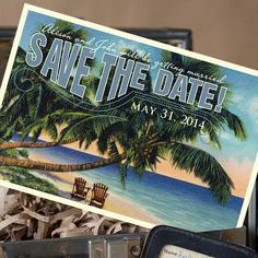 Vintage Travel Postcard Save the Date - Design Fee