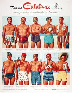 Catalina swimwear for men, buff guys in retro bathing suits. who could ask for anything more? (I am in ardent lust with that first suit, vintage tiki fish on parade? Men's Swimwear, Swimwear Guide, Men's Swimsuits, Vintage Swimsuits, Beachwear, Trendy Swimwear, Vintage Men, Retro Men, Moda Vintage