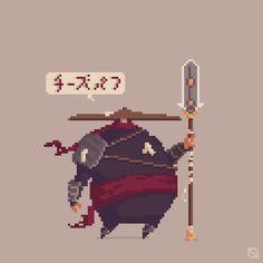 "Gareth Davies on Twitter: ""The large ninja with a big hat... #pixel_dailies #LegendOf3d6 @Pixel_Dailies #pixelart http://t.co/lrBBoJmHP2"""