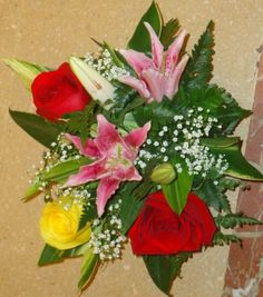 Pink Lilys and Roses Centerpiece
