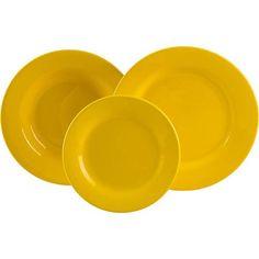 Conjunto de Pratos Cerâmica  18 Peças Amarelo - La Cuisine