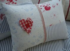 CoTTaGe BLuE TiCKiNG ReD HeaRT  Blue FLoWeRs  by Sassycatcreations, Etsy. How cute is this!
