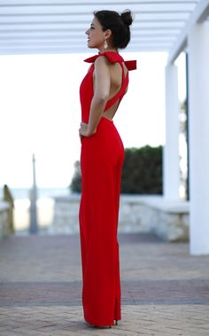 Hot red, open back and bows on the shoulders, feminine, elegant and sexy