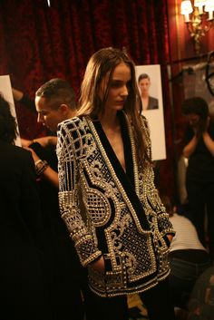 Backstage at Balmain RTW Fall 2012