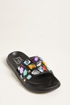 24c2dc6dca1942 LFL by Lust for Life Faux Gem Slide Sandals Lust For Life