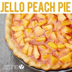 Amazing (and easy) Jello Peach Pie! Peach season is here...can't wait to make this! #peach #pie #recipe