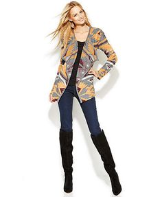INC International Concepts Open-Front Draped Printed Cardigan & Skinny Jeans