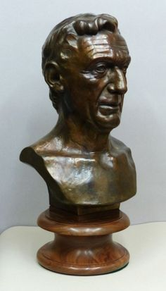 Bronze on turned walnut base Portrait Sculptures / Commission or Bespoke or Customised sculpture by artist Tristan MacDougall titled: 'Portrait of Man (Custom Bespoke Commission Bust Head statue)'