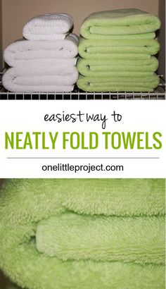 This is the easiest way to fold towels nicely. Unlike the other tutorials I've seen, you can fold these towels without needing a flat surface.