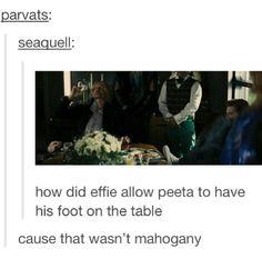 because Peeta can do whatever he wants. Divergent Hunger Games, Hunger Games Memes, Hunger Games Fandom, Hunger Games Catching Fire, Hunger Games Trilogy, I Volunteer As Tribute, Mockingjay, Book Fandoms, I Laughed