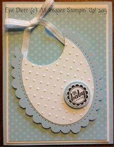 Baby Bib card with Stampin' Up! oval framelits