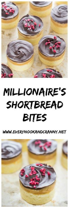 Mini morsels of that classic confection - millionaire's shortbread, topped with freeze dried rapsberries. Biscuit Cookies, Biscuit Recipe, Shortbread Cookies, Baking Recipes, Snack Recipes, Dessert Recipes, Mini Desserts, Delicious Desserts, Caramel Ingredients