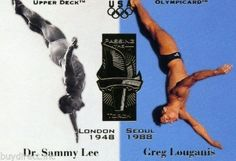 RARE 1996 UPPER DECK OLYMPICARD PASSING THE TORCH DR. SAMMY LEE & GREG LOUGANIS