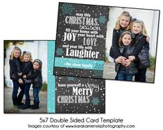 Christmas Card Template - JOYFUL SNOW - 5x7 Double Sided Card Template & 4x8 Single Sided Card Template - love the sentiment and color - just need photo spot to be landscape