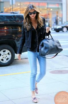 Miranda Kerr | Jacket + black button-up blouse + skinny jeans above ankle + ked sneakers #denimskirtoutif