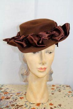 Vintage 1940s Dobbs Brown Wool Tilt Hat w/ Satin Bows