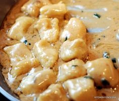 Sweet Potato Gnocchi in a Brown Butter Gorgonzola Sauce. I can't wait to make this one!