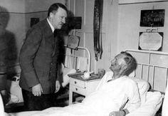 Hitler visits Admiral Karl-Jesco von Puttkamer in the hospital. The Admiral was one of those who got hurt from the bombing unfortunately - it was not Hitler. Graf Von Stauffenberg, Rear Admiral, The Third Reich, German Army, World War Ii, Wwii, Photos, Instagram, Ww2 History