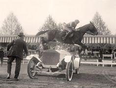 "Jumping a Rolls Washington, ""Horse shows. Ralph Coffin jumping his horse 'Rabbit' over Sylvanus Stokes's Rolls-Royce."