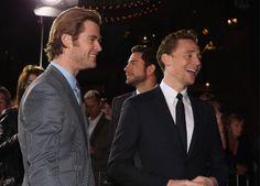 Tom Hiddleston and Chris Hemsworth at event of Thor 2: The Dark World (2013)