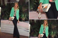 Ohlaleando: mirá lo que se puso Mariana Fabbiani  Impecable como siempre, Mariana Fabbiani apostó a un blazer en color verde, camisa con print y oxford negro