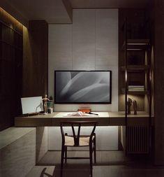 In een hoek van 90°: links een bankje (onder het raam), en dan in 90° een houten plank voor bureau erop.