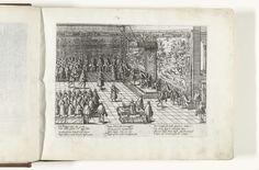 Frans Hogenberg | Vertrek van Karel V, 1555, Frans Hogenberg, 1566 - 1572 | Karel V doet afstand van de troon, 25 oktober 1555. In de troonzaal neemt Filips II plaats op de troon en verlaat Karel V de zaal. De zegels van Karel V worden verbroken en vervangen door die van Filips II. Ten overstaan van de volledige vergadering van de Staten-Generaal. De muren versierd met wandtapijten met jachttaferelen. Met onderschrift van 12 regels in het Duits.
