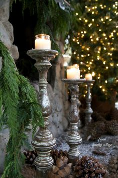 French Country Cottage Christmas ~ Home Tour - A little bit Merry and a little bit bright I. Christmas time brings so much wonder and magic - It is de. French Country Christmas, Cottage Christmas, French Country Cottage, Noel Christmas, All Things Christmas, Winter Christmas, Christmas Candles, Country Cottages, Elegant Christmas