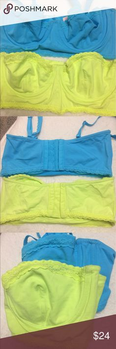 Set of 2 VS Pink Bustier Style Bras 36B Two Pink unlined bustier style unlined  bras, size 36B.  Turquoise is new with tags, lime green has been worn once, but one strap is missing.  Straps are removable. PINK Victoria's Secret Other