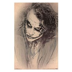 Get this amazing sketch poster of Heath Ledger as The Joker from The Dark Knight movie in memory of his Oscar-winning role. Makes a fantastic gift for Joker Heath Ledger fans. To make this paper poste