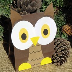 Boy Hoot Owl Treat Sacks - Woodland Forest Bird Theme Birthday Party Goody Bags by jettabees on Etsy