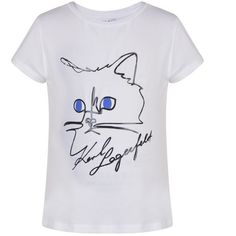 Karl Lagerfeld Choupette T Shirt (€35) ❤ liked on Polyvore featuring tops, t-shirts, white, white cotton t shirts, white top, short sleeve tee, cotton tees and karl lagerfeld t shirt