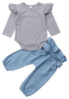 Outfits Baby Girls Ruffle Romper Bodysuit Tops Denim Jeans High Waist Pants Floral Halen Pants >>> To view further for this item, visit the image link. (This is an affiliate link) Baby Outfits, Kids Outfits, Baby Dresses, Spring Dresses, Baby Girl Gowns, Newborn Outfits, Girls Dresses, Baby Girl Fashion, Kids Fashion